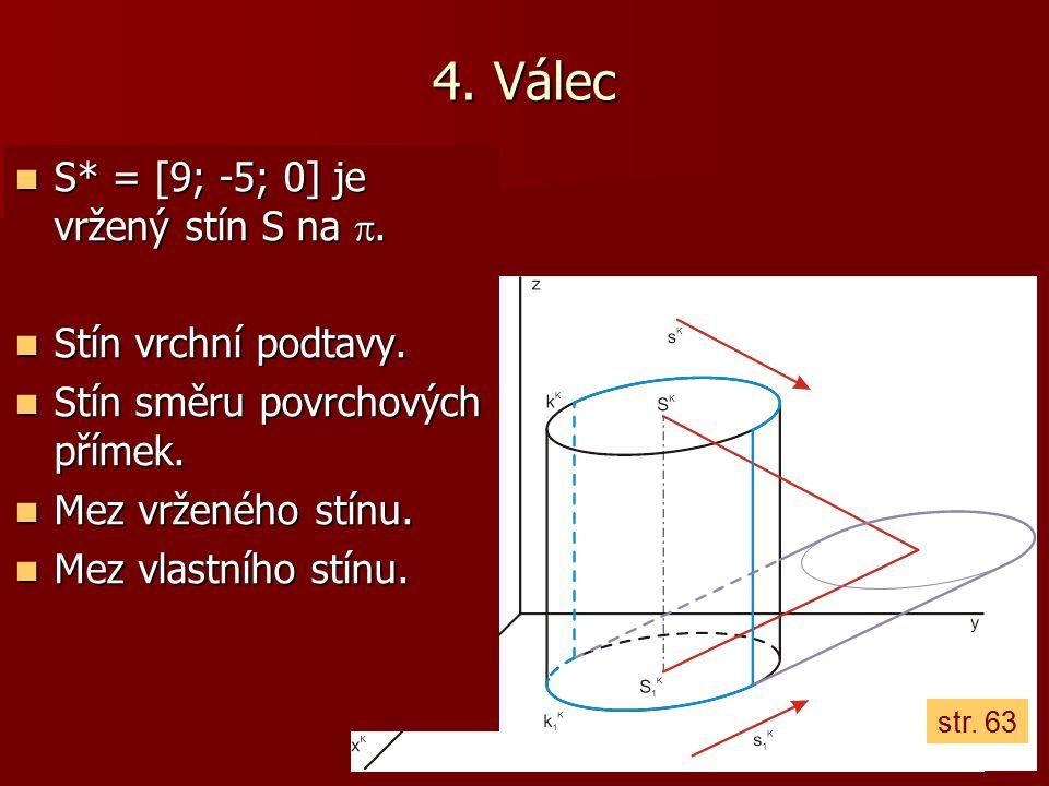 4. Válec S* = [9; -5; 0] je vržený stín S na . Stín vrchní podtavy.